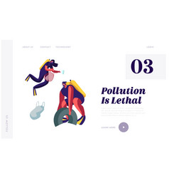 plastic pollution sea with garbage scuba divers vector image