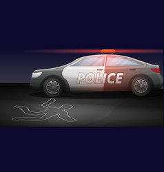 Police car crime investigation concept banner vector