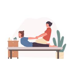 professional asian therapist practicing thai yoga vector image