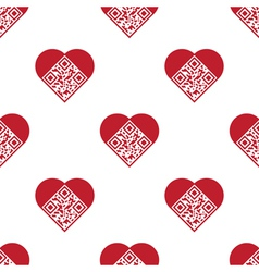 Qr code in shape of heart seamless pattern vector