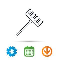 Rake icon gardening equipment sign vector