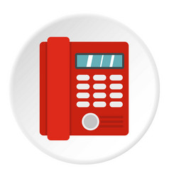 red classic business office phone icon circle vector image