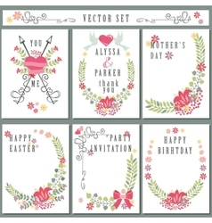 Retro card set with floral decorCute Holiday vector image