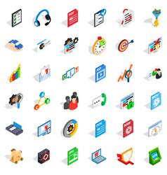 Safe data icons set isometric style vector