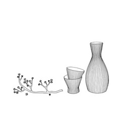 Sake glass bottle and japan hand drawn vector
