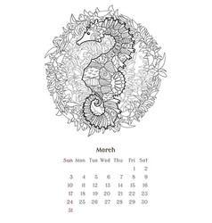 sea anti stress coloring page for calendar 2019 vector image