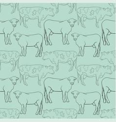 Seamless pattern line art cow vector