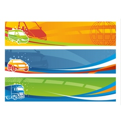set contemporary transport banners vector image