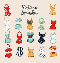 Set of 17 cute stylish hand drawn swimsuits vector