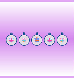 set of christmas gift boxes on pink background vector image