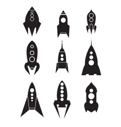 set of spacecraft icons silhouettes of spaceships vector image