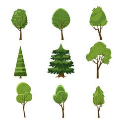 set of trees stylization cartoon style isolated vector image