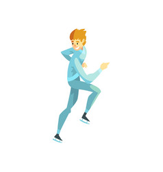 Short track speed male skater man athlete vector