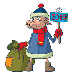Sign of the chinese new year mighty little pig vector