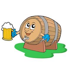 smiling wooden keg holding beer vector image