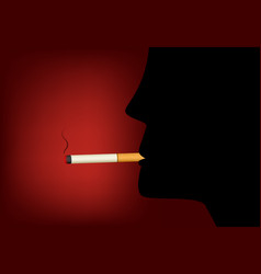 smoking cigarette and male silhouette vector image