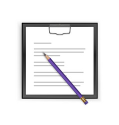 square black clipboard with blank white sheet and vector image