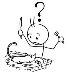 Stickman cartoon or rat served as meal vector