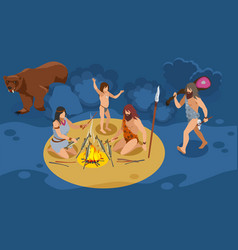Stone age family composition vector