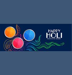 Stylish happy holi colorful festival banner design vector