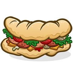 Submarine sandwich hoagie cartoon vector