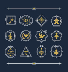 Trendy golden and white line christmas emblems vector