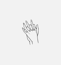 Two hands with interlocked or intertwined fingers vector