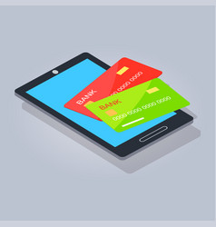 Two payment card lying on mobilephone or tablet vector