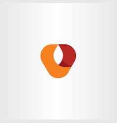 v logo letter red orange symbol vector image
