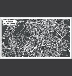 Vilnius lithuania map in retro style vector