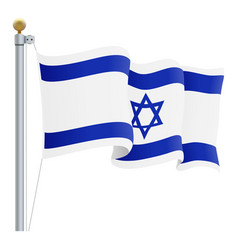 waving israel flag isolated on a white background vector image