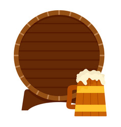 wood barrel and beer mug icon flat style vector image