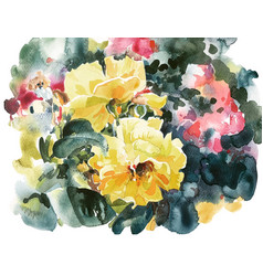 Yellow roses hand painting watercolor artwork vector
