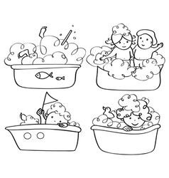 kids bath contour vector image vector image