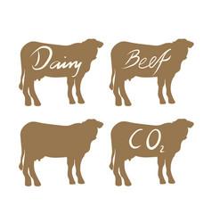 set of cow beef symbols vector image