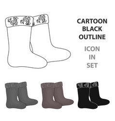 winter felt boots icon in cartoon style isolated vector image