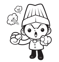 black and white head chef mascot put somebody out vector image