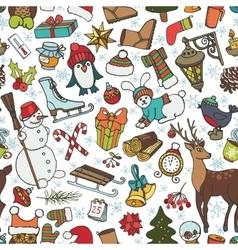 Christmas seasonDoodle symbols in seamless vector image vector image