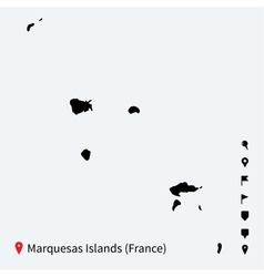 High detailed map of Marquesas Islands with vector image vector image