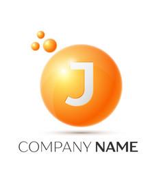 J letter splash orange dots and circle bubble vector