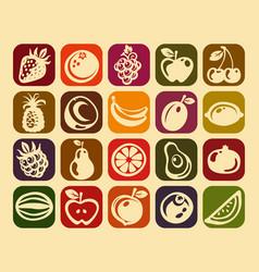 retro fruits design icons vector image