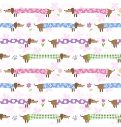 Seamless pattern with dachshunds vector image