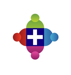 Teamwork with a cross logo vector image vector image