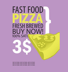 banner for fast food restaurant with pizza vector image vector image