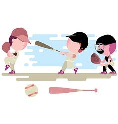 baseball kids character set vector image