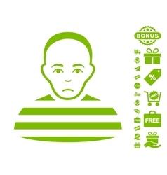 Prisoner Icon With Free Bonus vector image vector image