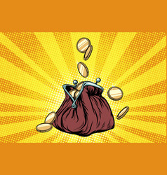 purse with gold coins vector image vector image
