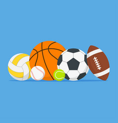 sports balls set cartoon balls icon vector image
