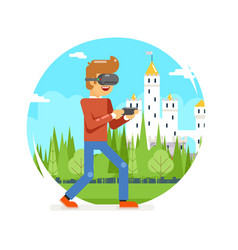 vr virtual reality glasses young man playing game vector image