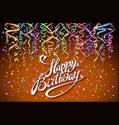 birthday background with colorful confetti - vector image